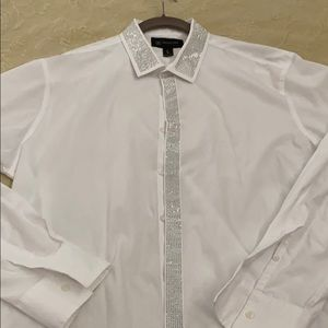 INC Men's White long sleeve dress shirt with trim